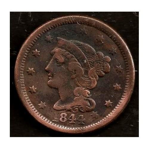 USA 1 Cent 1844 Braided Hair