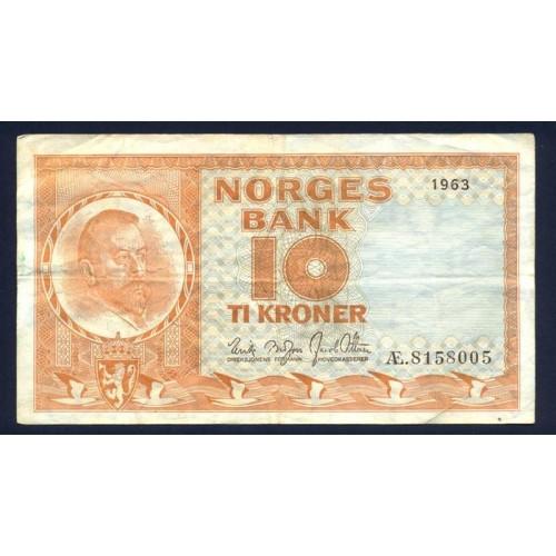 NORWAY 10 Kroner 1963