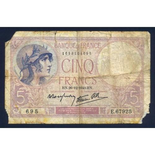 FRANCE 5 Francs 26.12.1940