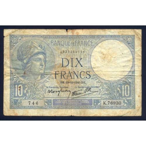 FRANCE 10 Francs 10.10.1940