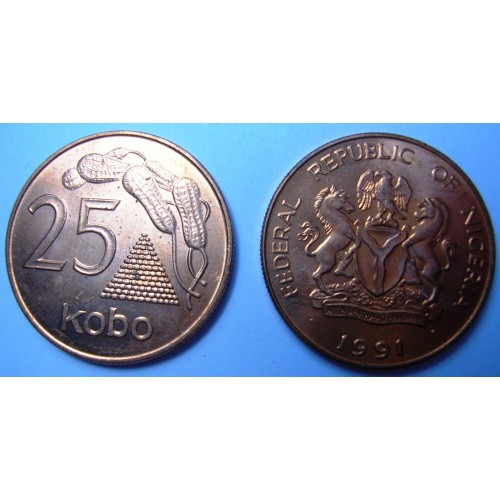 NIGERIA 25 Kobo 1991