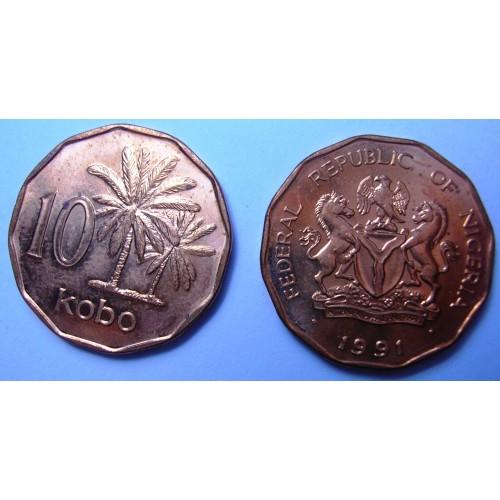 NIGERIA 10 Kobo 1991