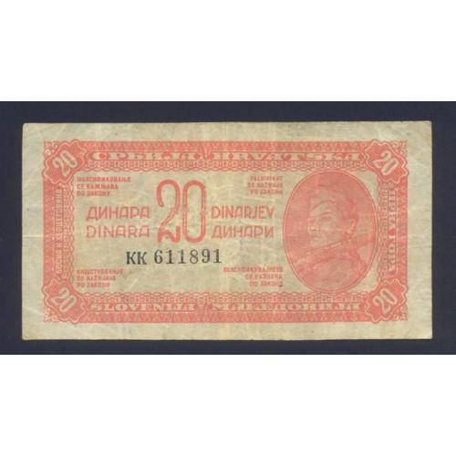 YUGOSLAVIA 20 Dinara 1944