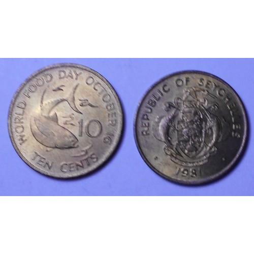 SEYCHELLES 10 Cents 1981...
