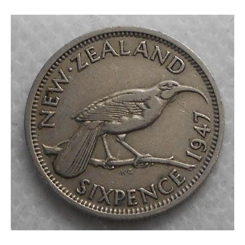 NEW ZEALAND 6 Pence 1947