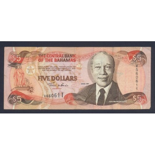 BAHAMAS 5 Dollars 1997