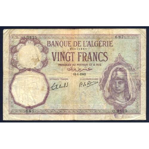 ALGERIA 20 Francs 1942