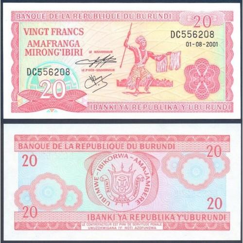 BURUNDI 20 Francs 2001
