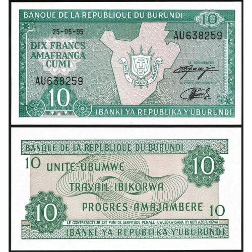BURUNDI 10 Francs 1995