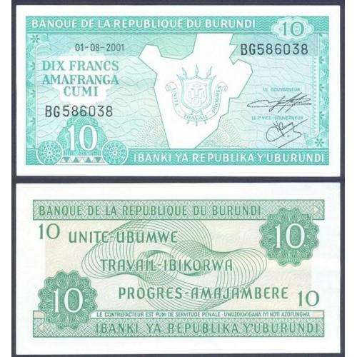BURUNDI 10 Francs 2001