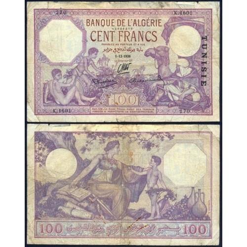 TUNISIA 100 Francs 1938