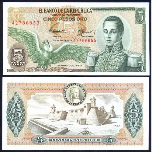 COLOMBIA 5 Pesos Oro 1976