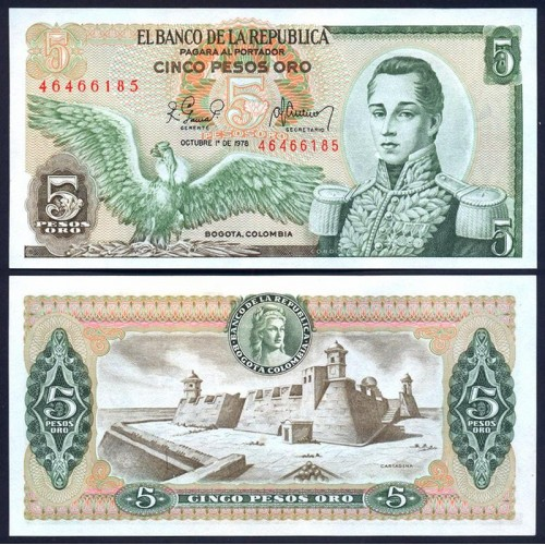 COLOMBIA 5 Pesos Oro 1978