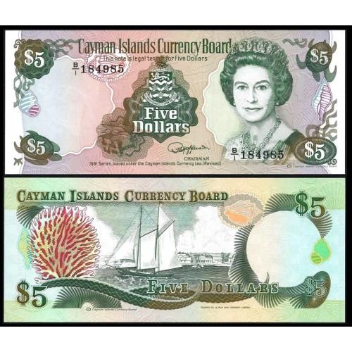 CAYMAN ISLANDS 5 Dollars 1991