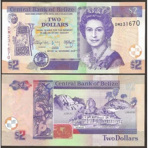 BELIZE 2 Dollars 2014