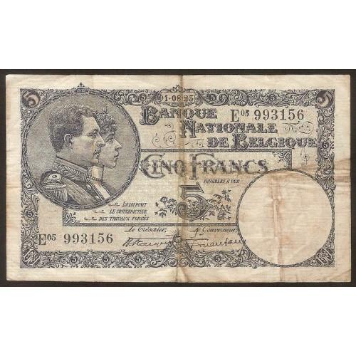 BELGIUM 5 Francs 01.08.1925