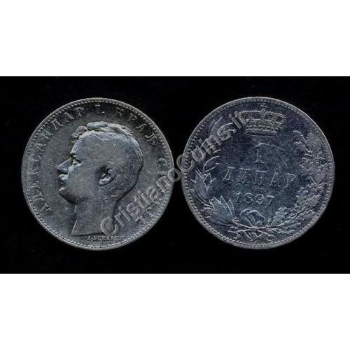 SERBIA 1 Dinar 1897 AG
