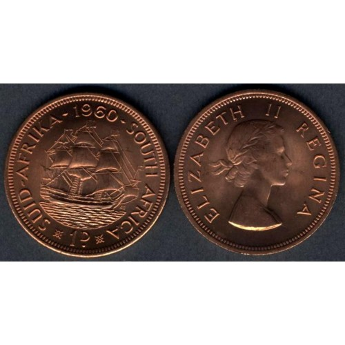SOUTH AFRICA 1 Penny 1960...