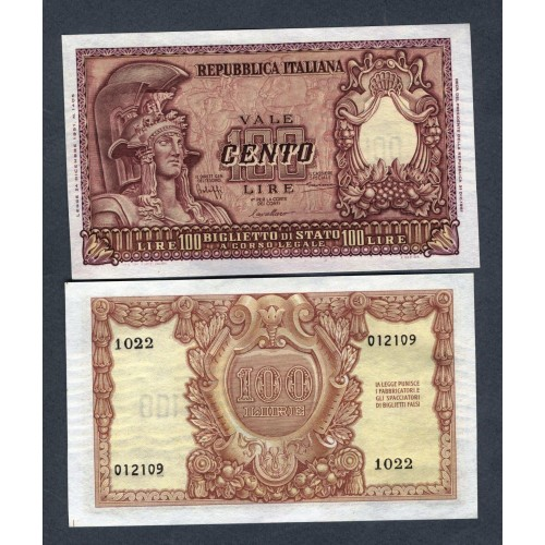 100 Lire 31.12.1951 ITALIA...