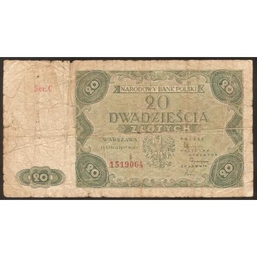 POLAND 20 Zlotych 1947