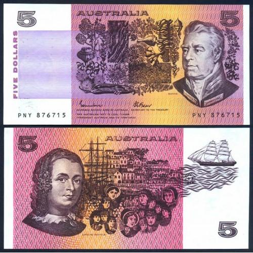 AUSTRALIA 5 Dollars 1985
