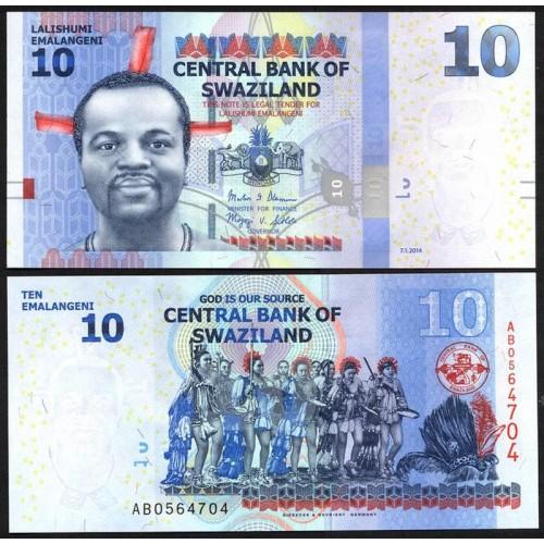 SWAZILAND 10 Emalangeni 2014