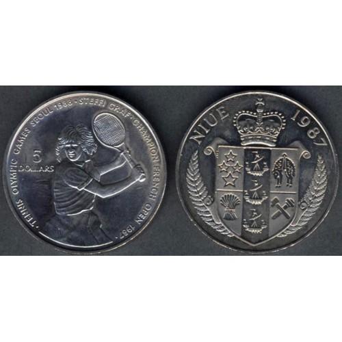 NIUE 5 Dollars 1987 Steffi...