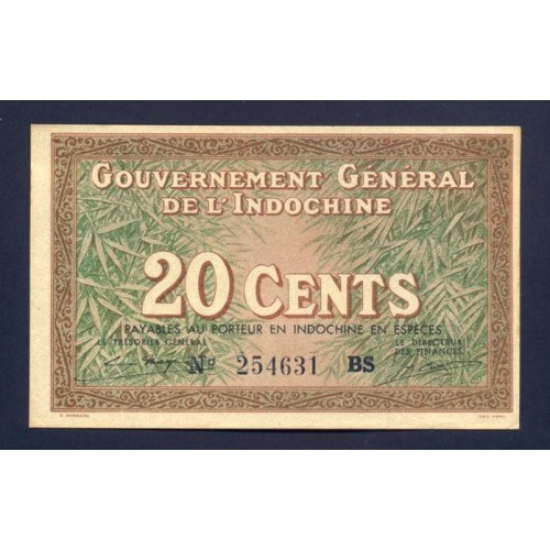 FRENCH INDOCHINA 20 Cents 1939