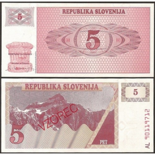 SLOVENIA 5 Tolarjev 1990...