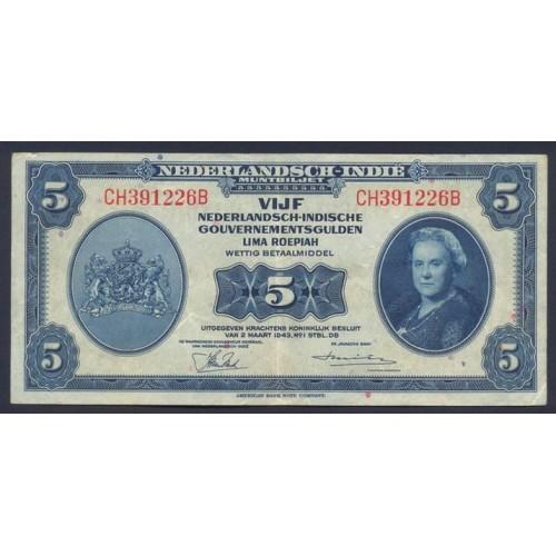 NETHERLANDS INDIES 5 Gulden...