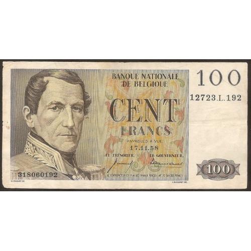 BELGIUM 100 Francs 1958