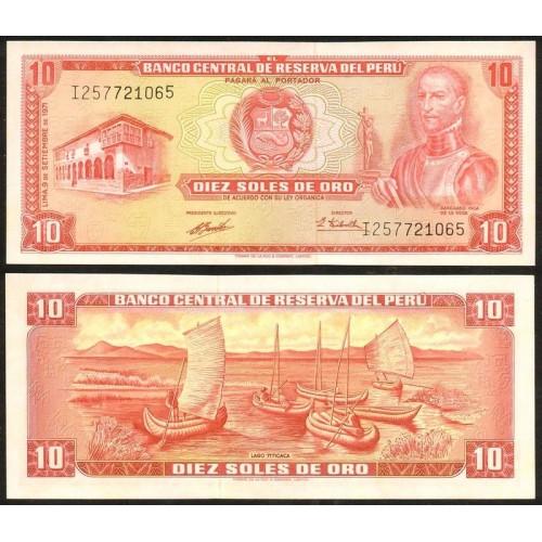 PERU 10 Soles de Oro 1971