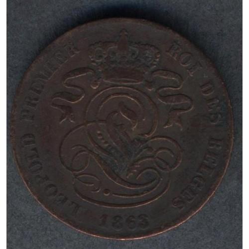 BELGIUM 2 Centimes 1863