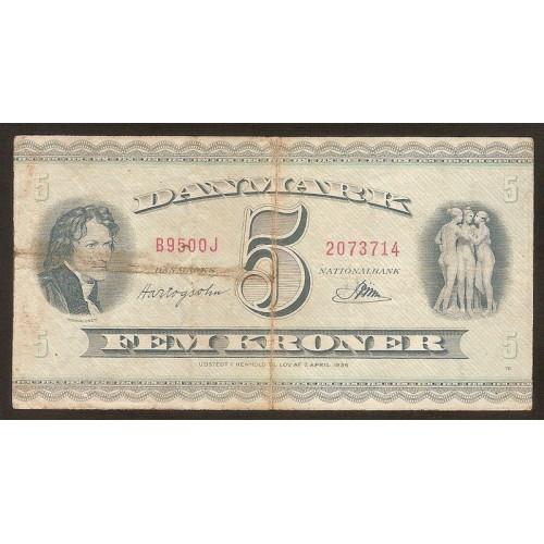DENMARK 5 Kroner 1950...
