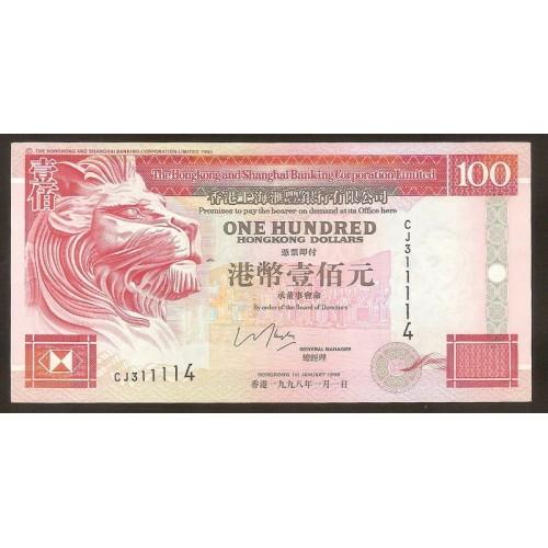 HONG KONG 100 Dollars 1998