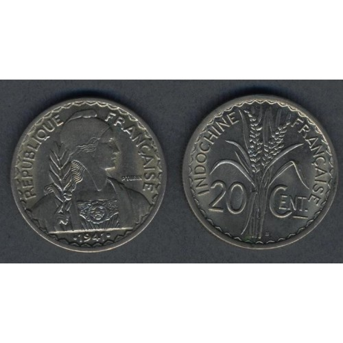 FRENCH INDOCHINA 20 Cents 1941