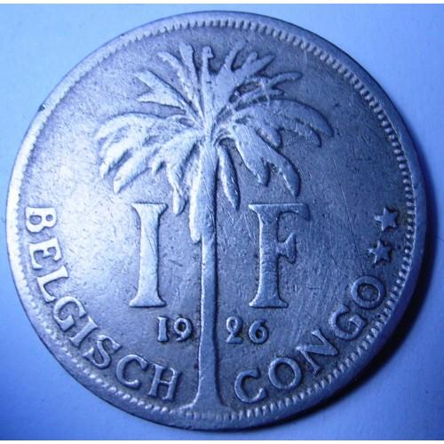 BELGIAN CONGO 1 Franc 1926...