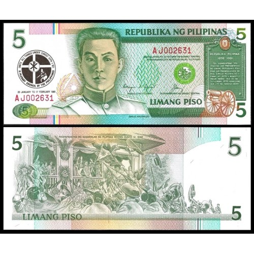 PHILIPPINES 5 Piso 1991...