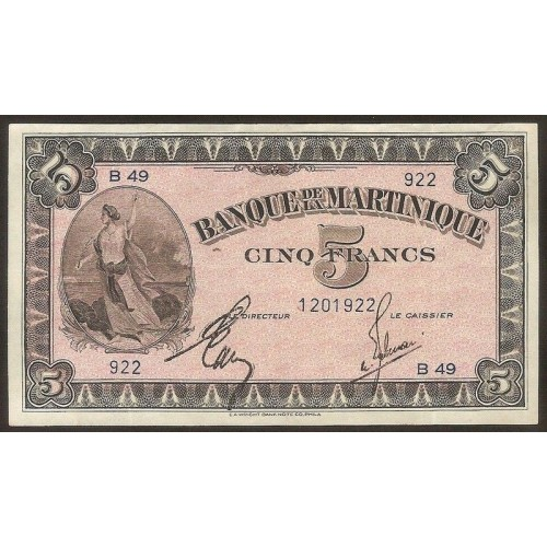 MARTINIQUE 5 Francs 1942