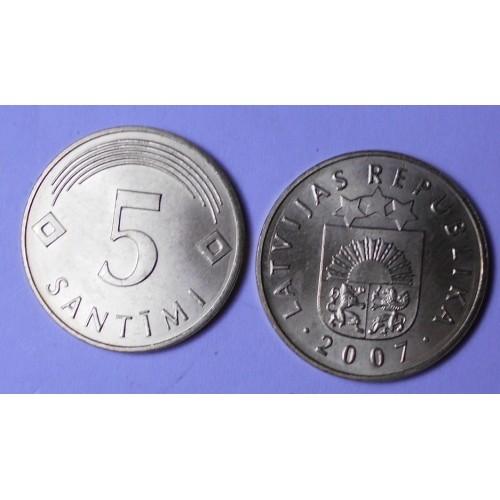 LATVIA 5 Santimi 2007