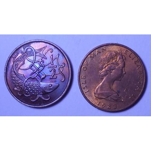 ISLE OF MAN 1/2 Penny 1983 AA