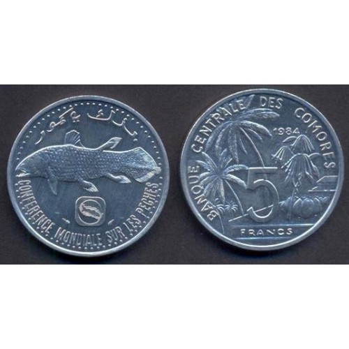 COMOROS 5 Francs 1984 World...