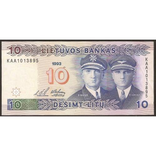LITHUANIA 10 Litu 1993