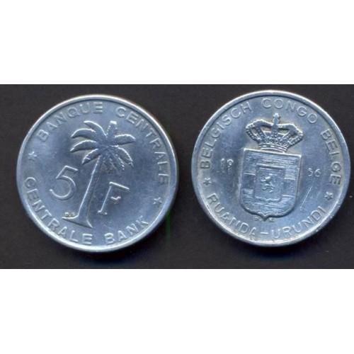 BELGIAN CONGO 5 Francs 1956