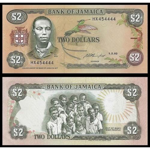 JAMAICA 2 Dollars 1993