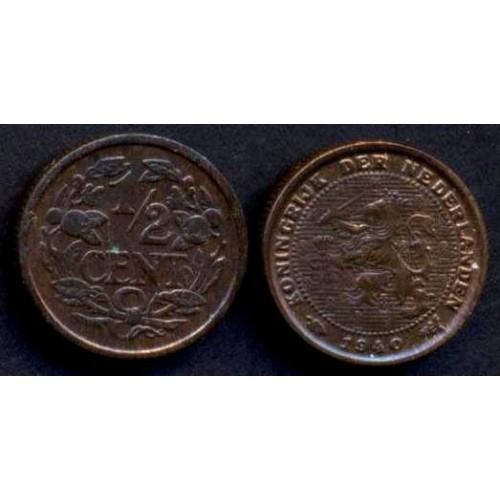 NETHERLANDS 1/2 Cent 1940