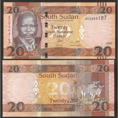 SOUTH SUDAN 20 Pounds 2015