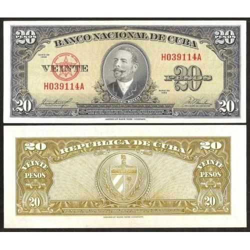 CUBA 20 Pesos 1958