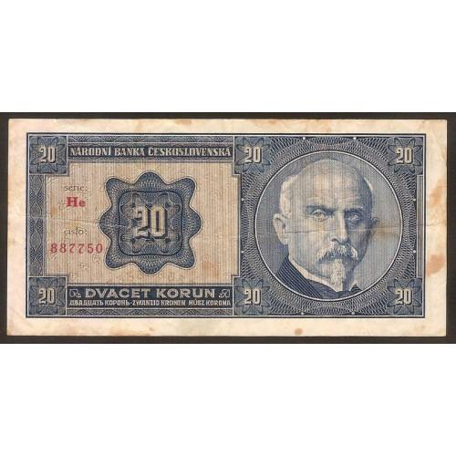 CZECHOSLOVAKIA 20 Korun 1926