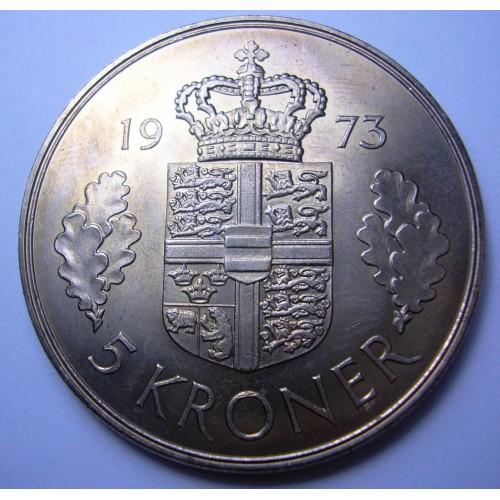DENMARK 5 Kroner 1973...